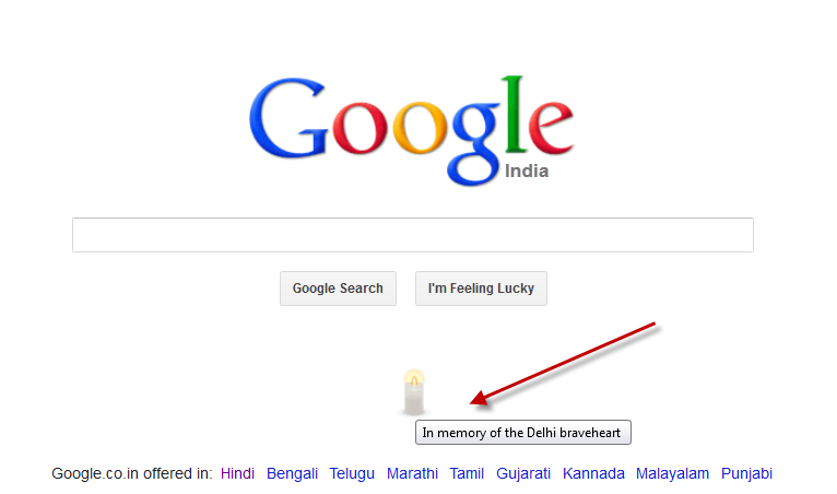 Google Paid Tribute to the DELHI RAPE victim….thanks a lot GOOGLE.