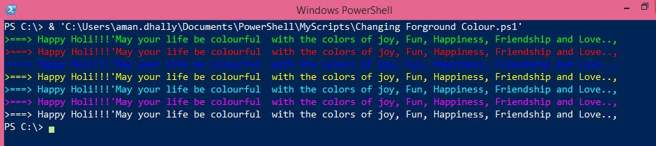 PowerShell Tips: Change The Foreground Colour of PowerShell console using .net and PowerShell. and ,Happy Holi