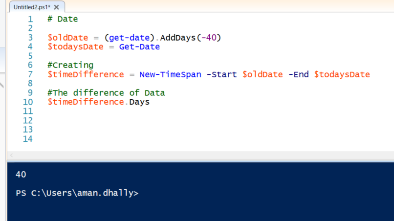 Use Powershell to find the difference between two dates.